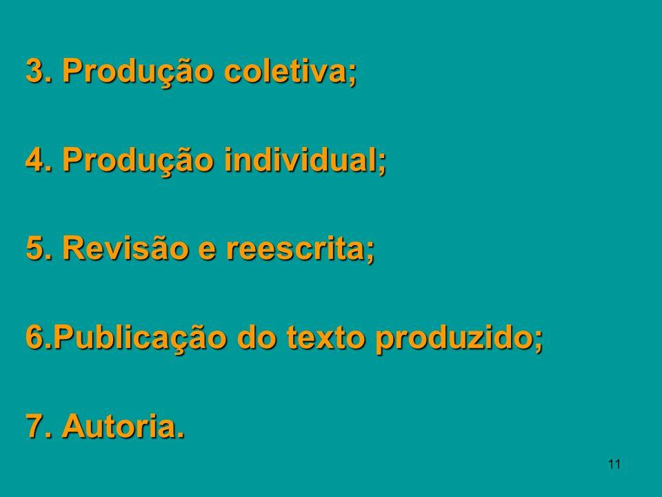 3. Produção coletiva; 4. Produção individual; 5. Revisão e reescrita; 6.Publicação do texto produzido;