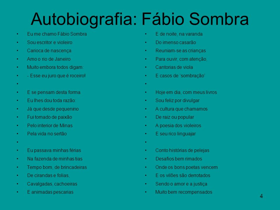 Autobiografia: Fábio Sombra