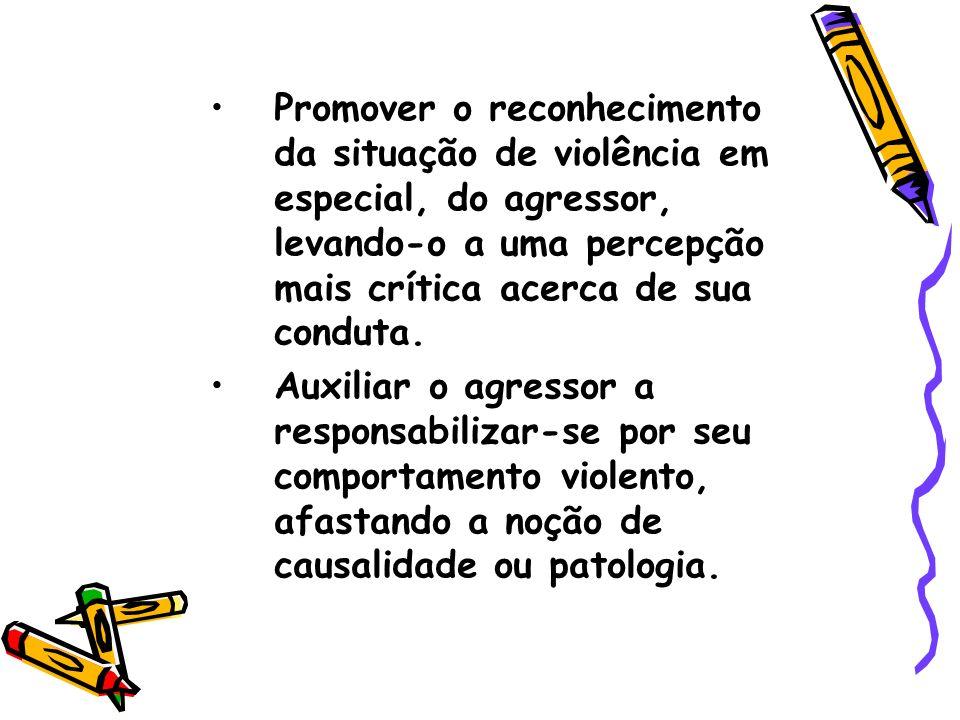 Promover o reconhecimento da situação de violência em especial, do agressor, levando-o a uma percepção mais crítica acerca de sua conduta.