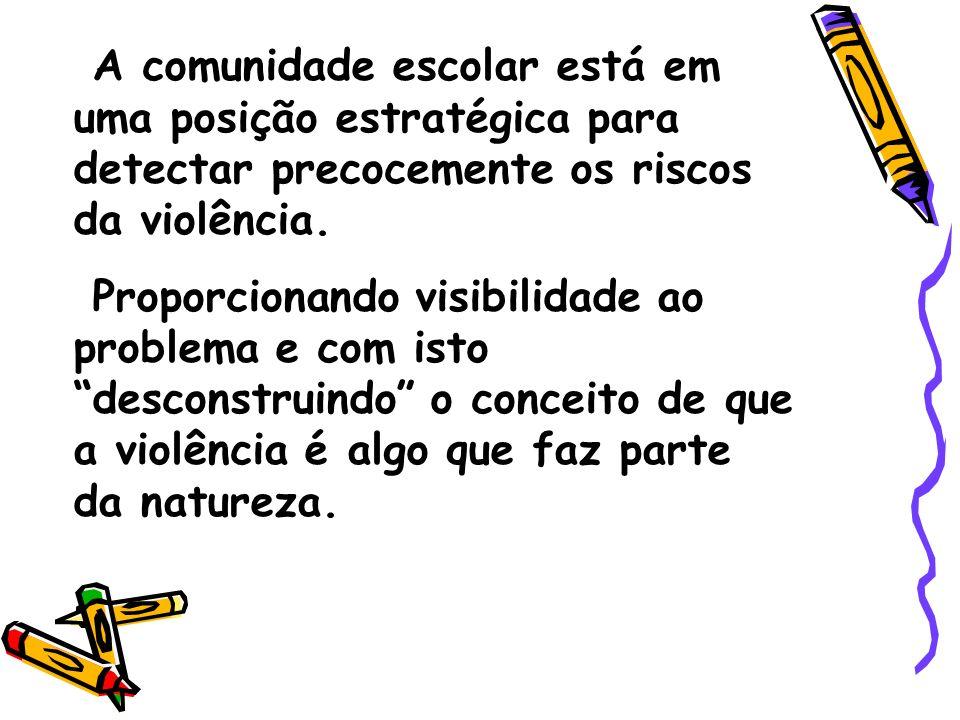 A comunidade escolar está em uma posição estratégica para detectar precocemente os riscos da violência.