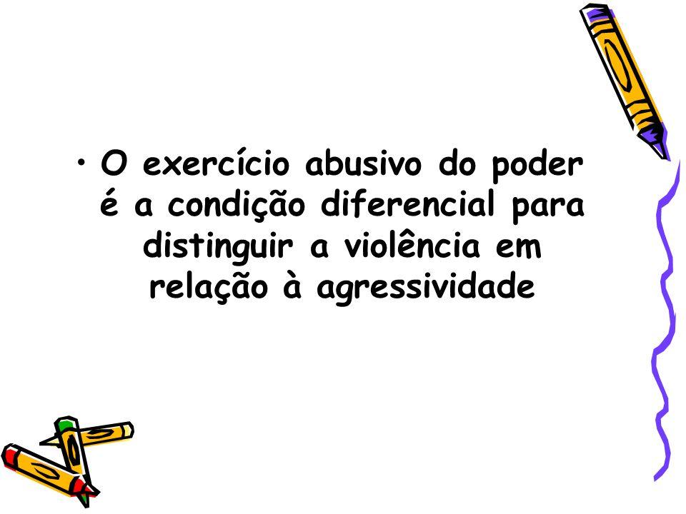 O exercício abusivo do poder é a condição diferencial para distinguir a violência em relação à agressividade