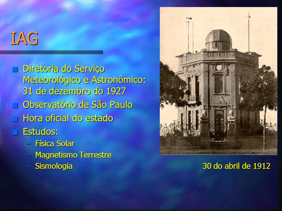 IAG Diretoria do Serviço Meteorológico e Astronômico: 31 de dezembro do 1927. Observatório de São Paulo.
