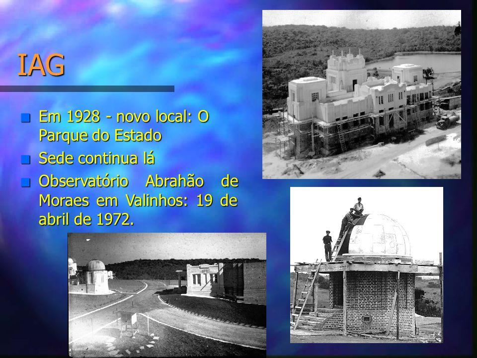 IAG Em 1928 - novo local: O Parque do Estado Sede continua lá