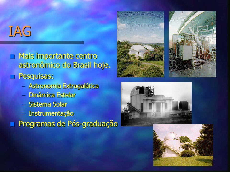 IAG Mais importante centro astronômico do Brasil hoje. Pesquisas: