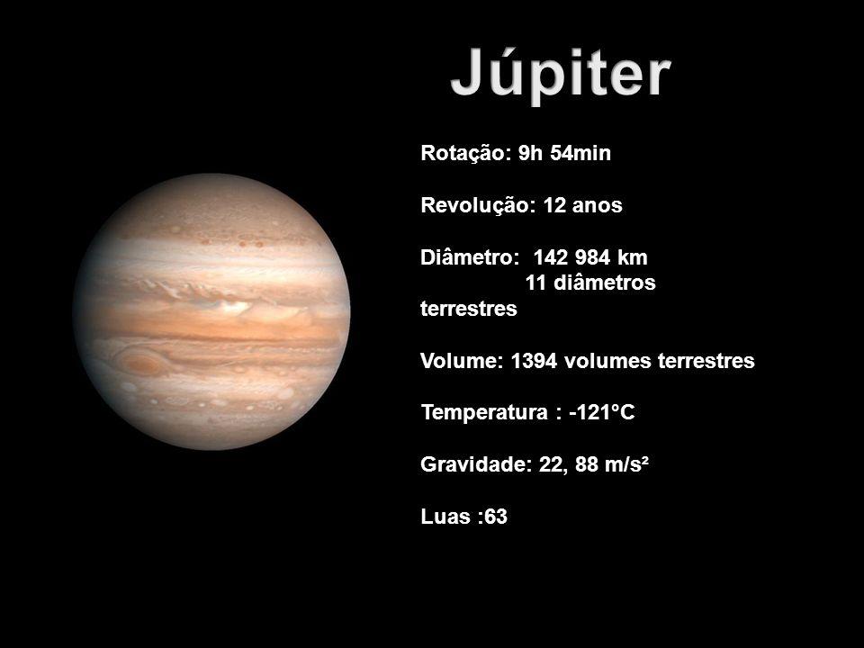 Júpiter Rotação: 9h 54min Revolução: 12 anos Diâmetro: 142 984 km