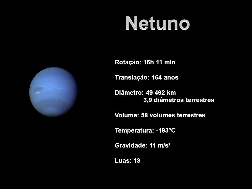 Netuno Rotação: 16h 11 min Translação: 164 anos Diâmetro: 49 492 km