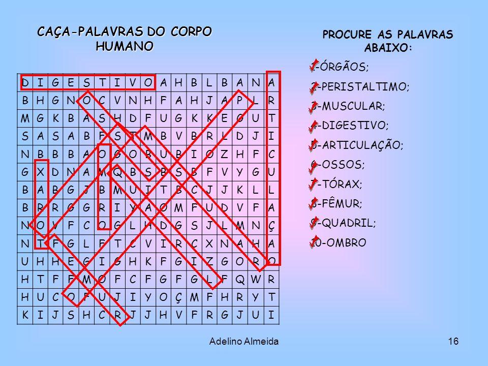 CAÇA-PALAVRAS DO CORPO HUMANO PROCURE AS PALAVRAS ABAIXO: