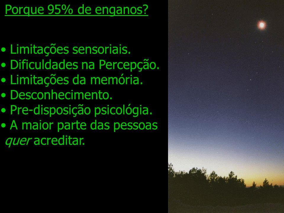 Porque 95% de enganos Limitações sensoriais. Dificuldades na Percepção. Limitações da memória. Desconhecimento.