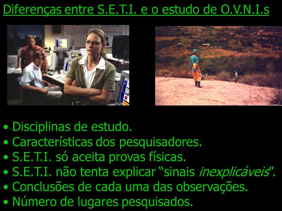 Diferenças entre S.E.T.I. e o estudo de O.V.N.I.s