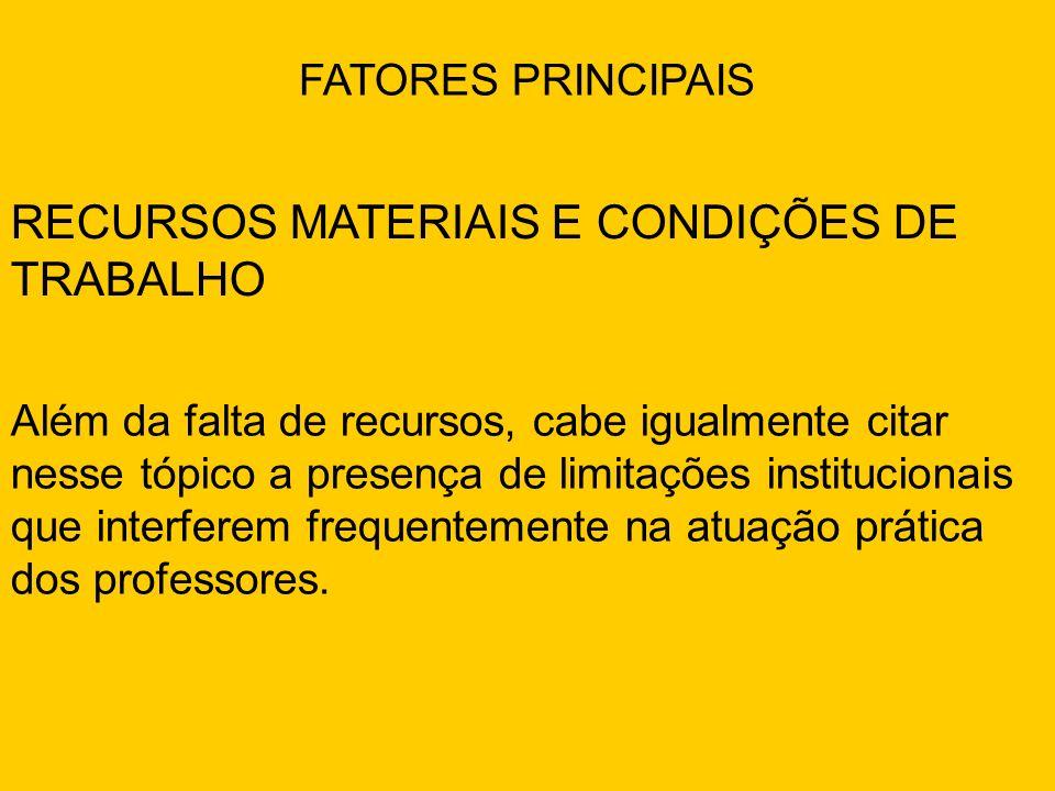 RECURSOS MATERIAIS E CONDIÇÕES DE TRABALHO