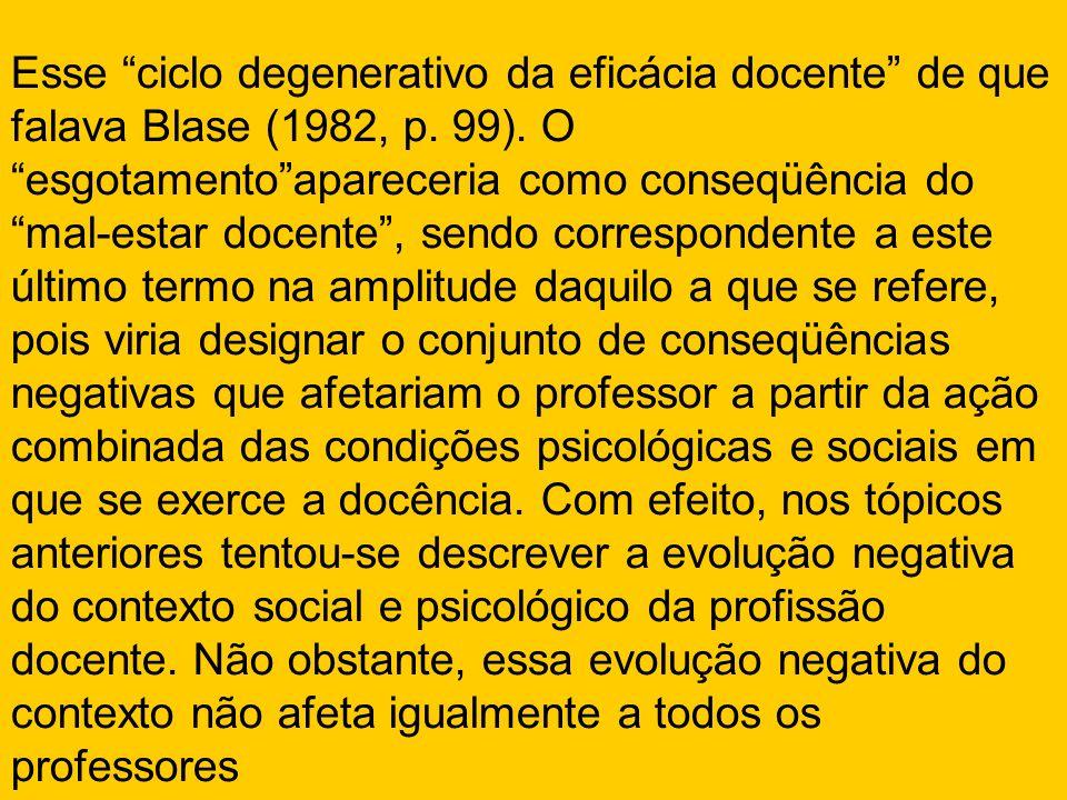 Esse ciclo degenerativo da eficácia docente de que falava Blase (1982, p.