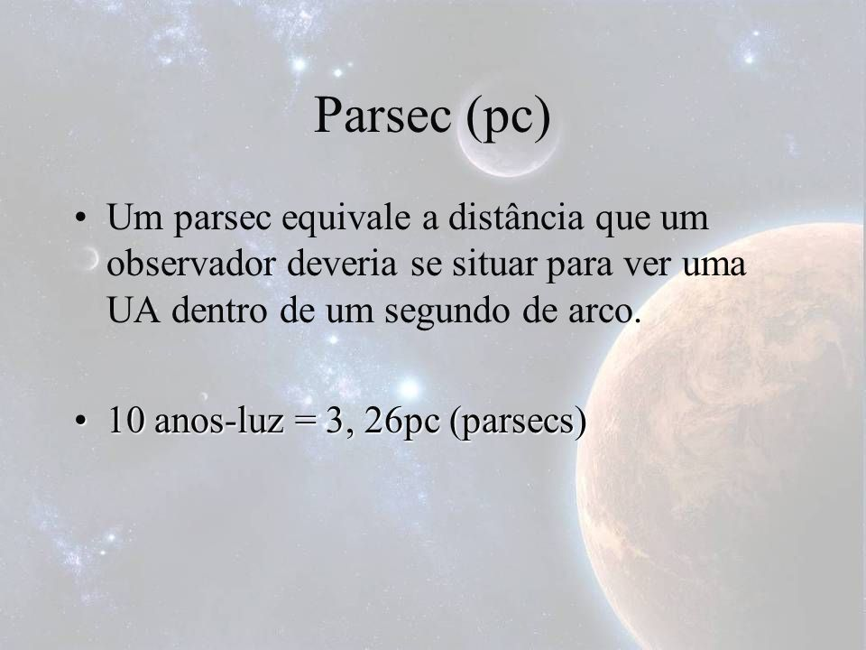 Parsec (pc)Um parsec equivale a distância que um observador deveria se situar para ver uma UA dentro de um segundo de arco.