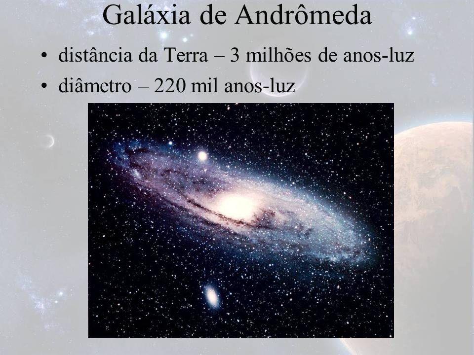 Galáxia de Andrômeda distância da Terra – 3 milhões de anos-luz