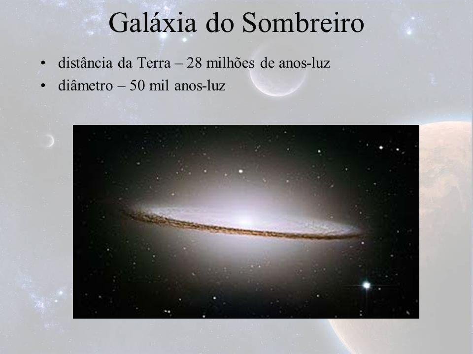Galáxia do Sombreiro distância da Terra – 28 milhões de anos-luz