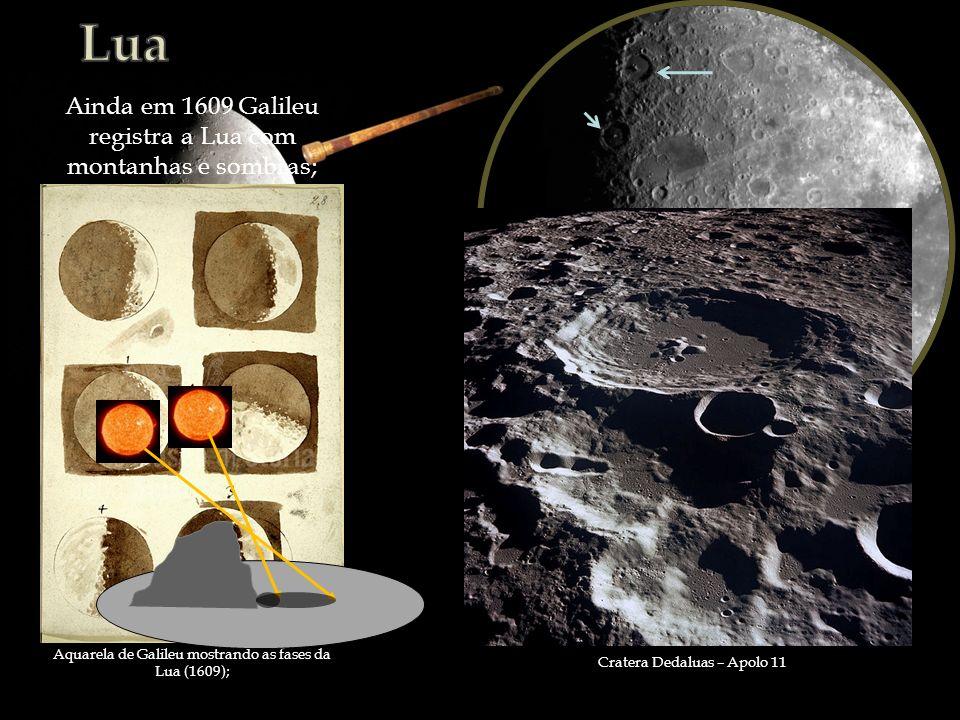 Lua Ainda em 1609 Galileu registra a Lua com montanhas e sombras;
