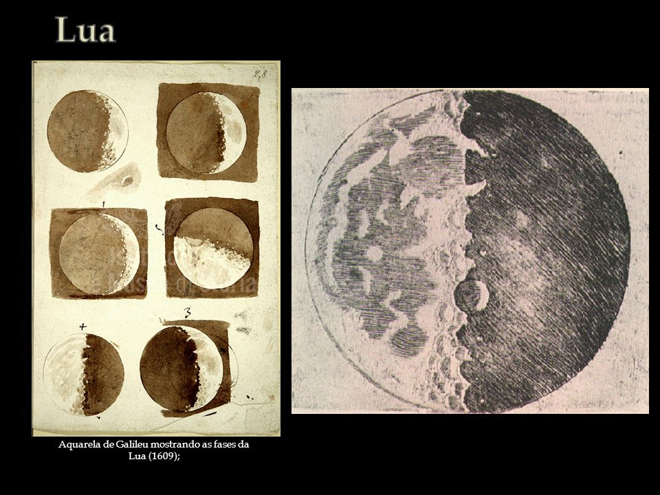 Aquarela de Galileu mostrando as fases da Lua (1609);