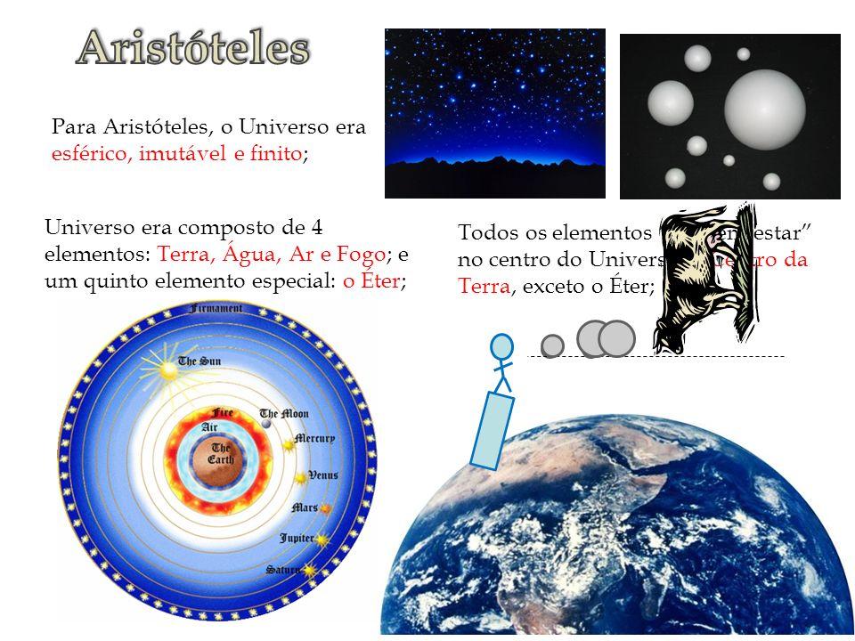 Aristóteles Para Aristóteles, o Universo era esférico, imutável e finito;