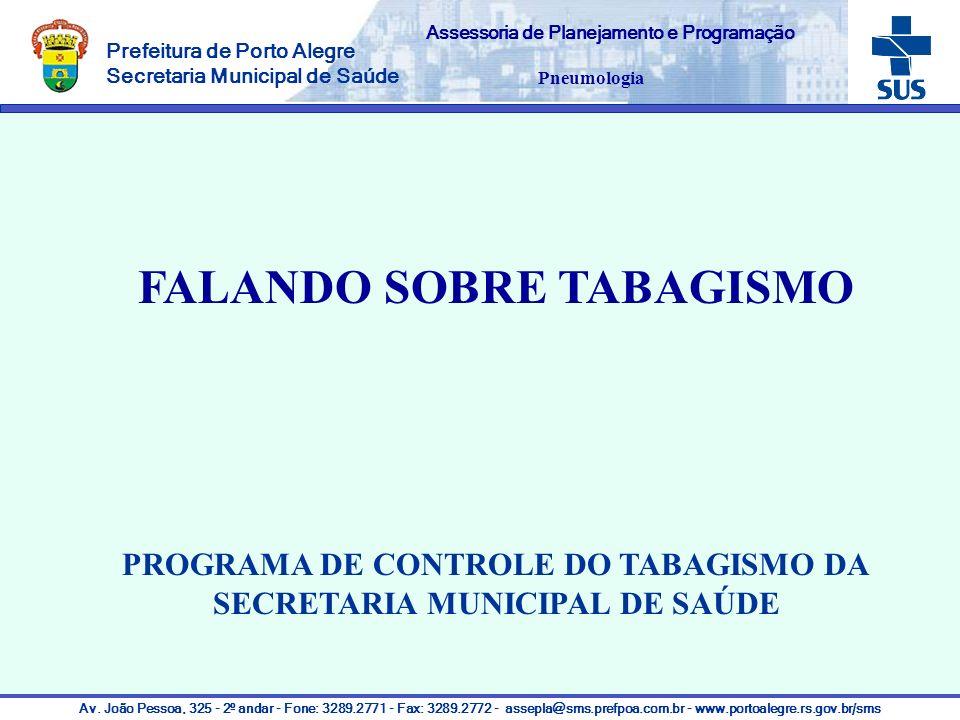 Assessoria de Planejamento e Programação FALANDO SOBRE TABAGISMO