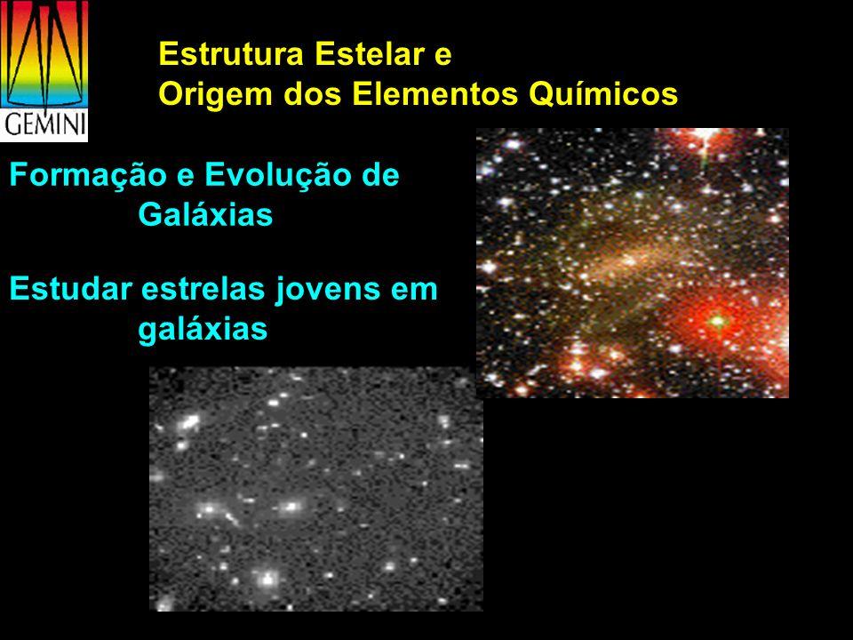 Estrutura Estelar e Origem dos Elementos Químicos. Formação e Evolução de. Galáxias. Estudar estrelas jovens em.