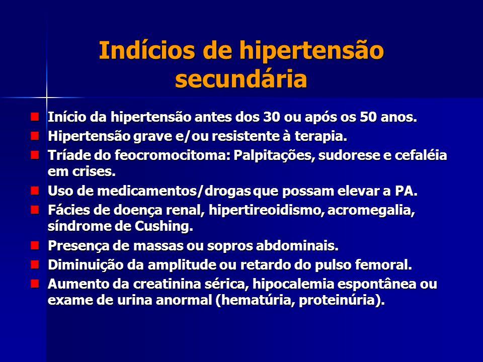 Indícios de hipertensão secundária