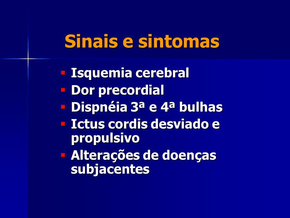 Sinais e sintomas Isquemia cerebral Dor precordial
