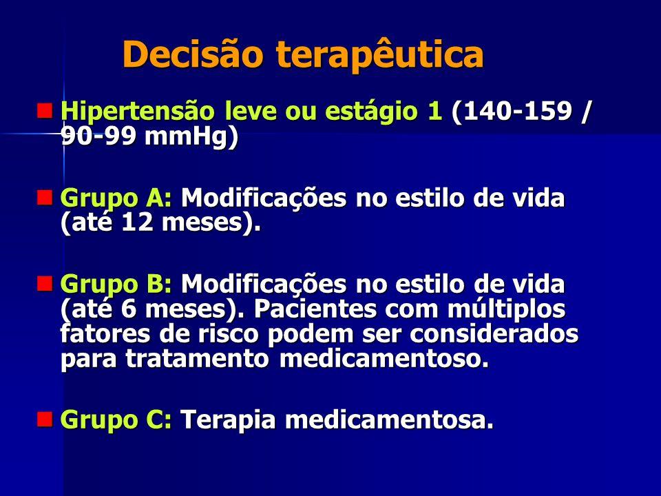 Decisão terapêutica Hipertensão leve ou estágio 1 (140-159 / 90-99 mmHg) Grupo A: Modificações no estilo de vida (até 12 meses).