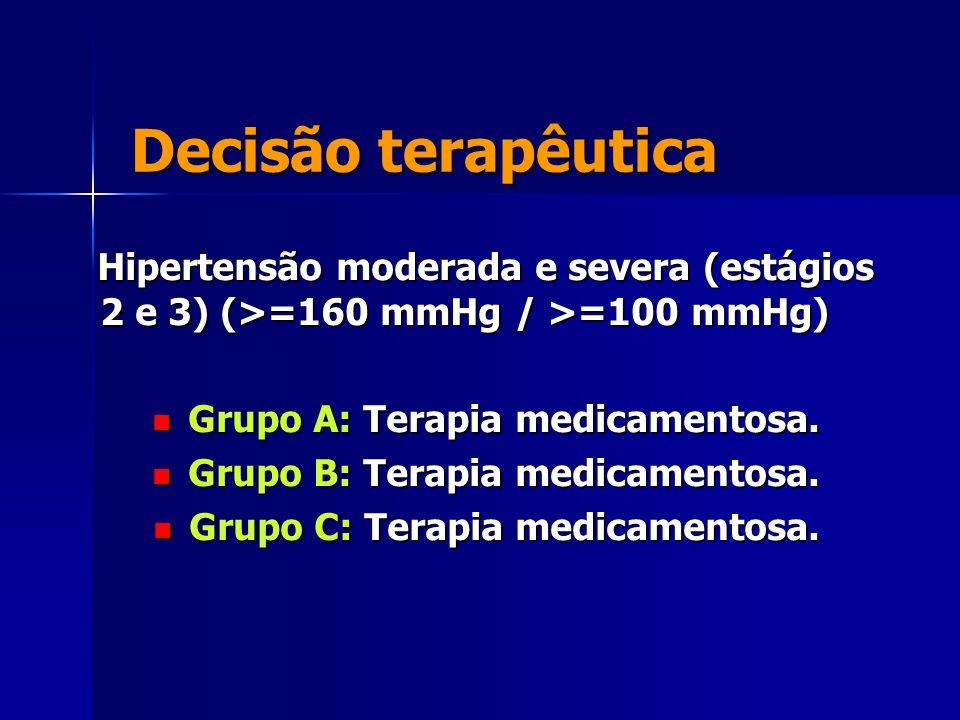 Decisão terapêutica Hipertensão moderada e severa (estágios 2 e 3) (>=160 mmHg / >=100 mmHg) Grupo A: Terapia medicamentosa.