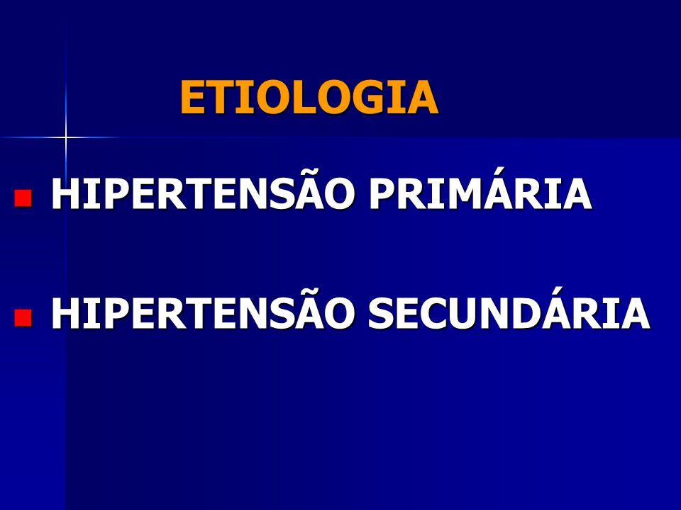 ETIOLOGIA HIPERTENSÃO PRIMÁRIA HIPERTENSÃO SECUNDÁRIA