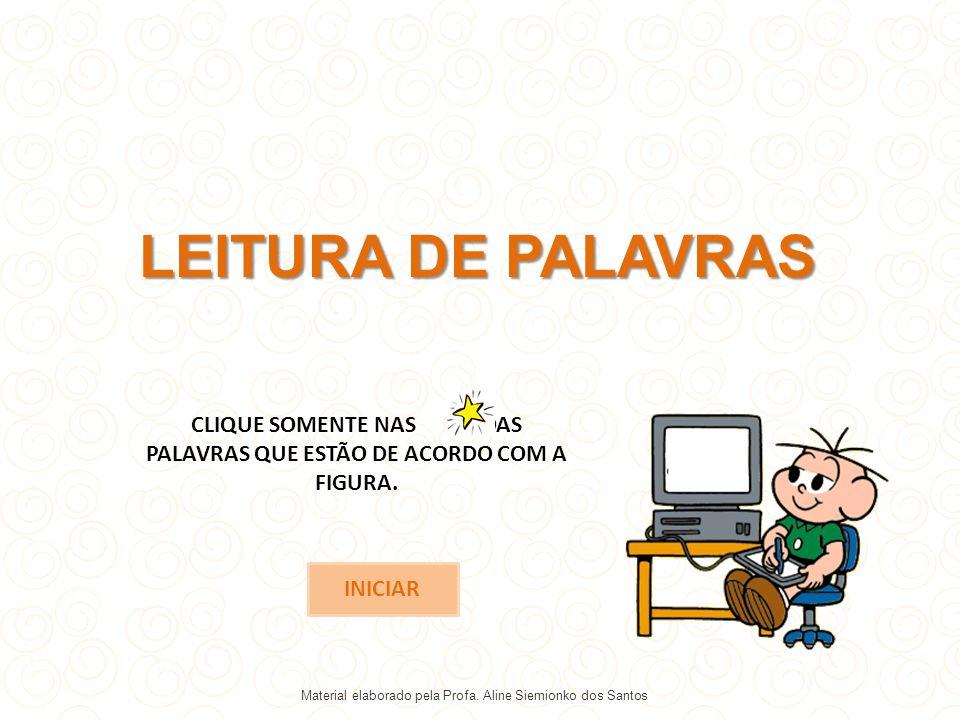 CLIQUE SOMENTE NAS DAS PALAVRAS QUE ESTÃO DE ACORDO COM A FIGURA.