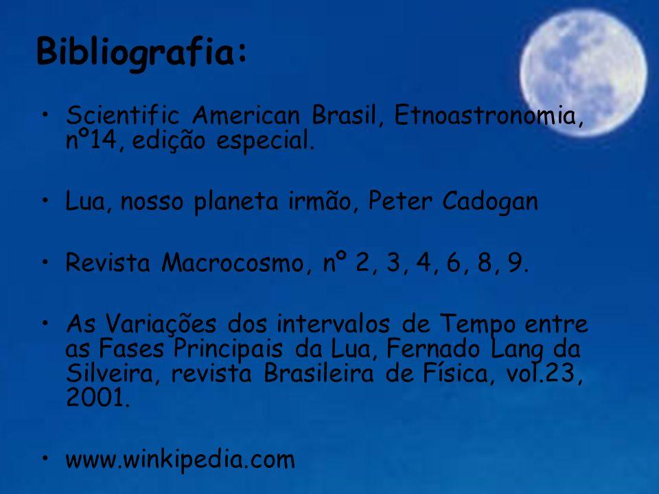 Bibliografia: Scientific American Brasil, Etnoastronomia, nº14, edição especial. Lua, nosso planeta irmão, Peter Cadogan.
