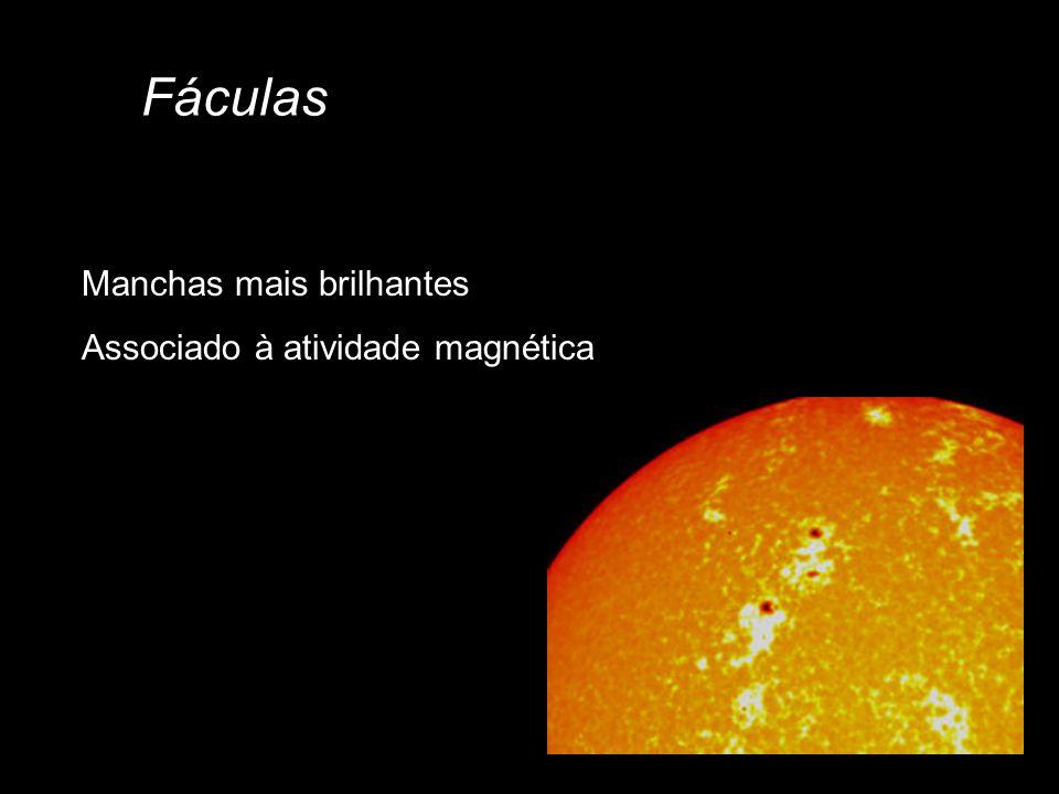 Fáculas Manchas mais brilhantes Associado à atividade magnética