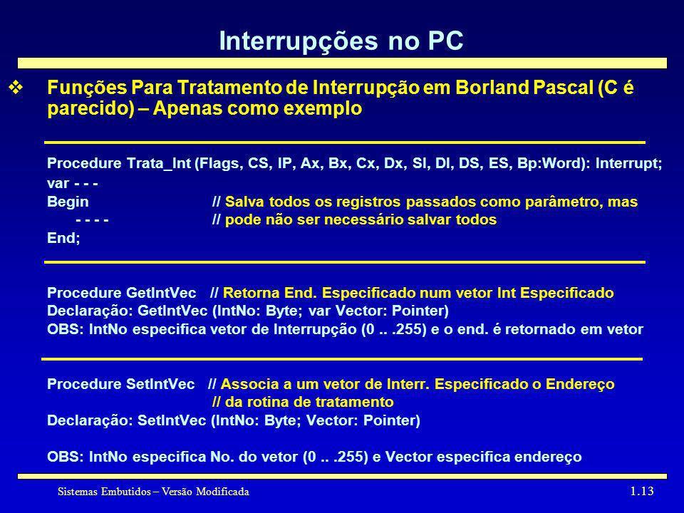 Interrupções no PC Funções Para Tratamento de Interrupção em Borland Pascal (C é parecido) – Apenas como exemplo.