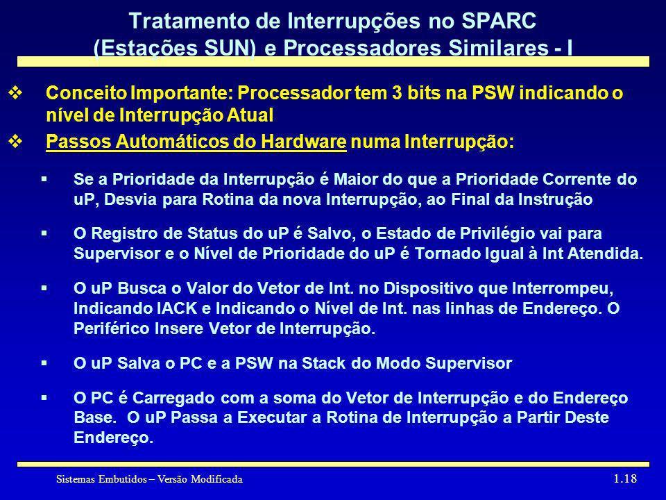 Tratamento de Interrupções no SPARC (Estações SUN) e Processadores Similares - I