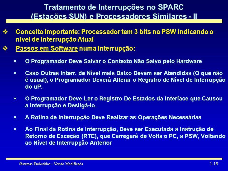 Tratamento de Interrupções no SPARC (Estações SUN) e Processadores Similares - II