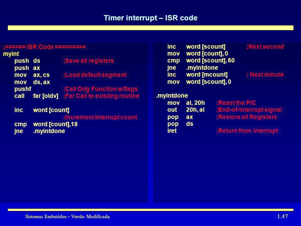 Timer interrupt – ISR code
