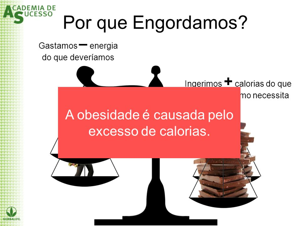 Por que Engordamos A obesidade é causada pelo excesso de calorias.