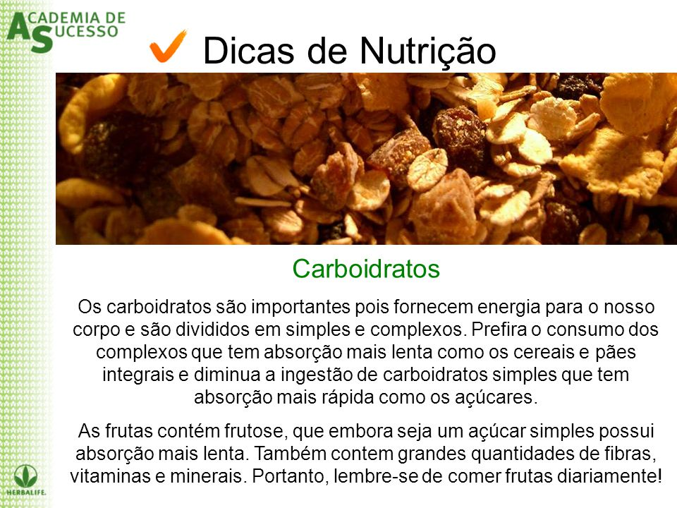 Dicas de Nutrição Carboidratos