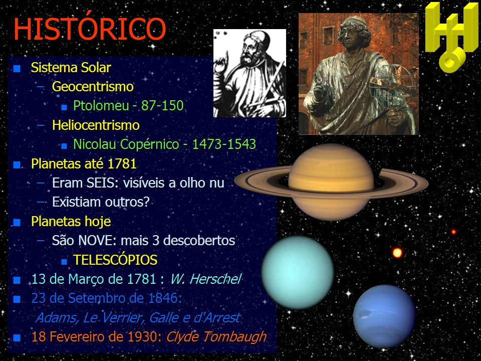 HISTÓRICO Sistema Solar Geocentrismo Ptolomeu - 87-150 Heliocentrismo
