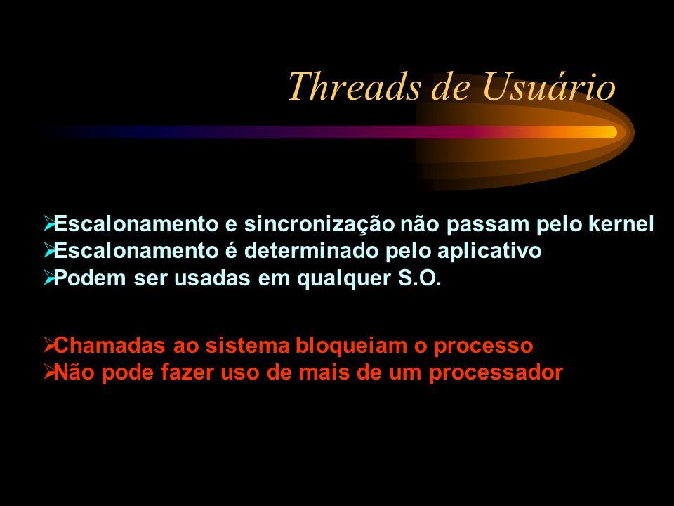 Threads de Usuário Escalonamento e sincronização não passam pelo kernel. Escalonamento é determinado pelo aplicativo.