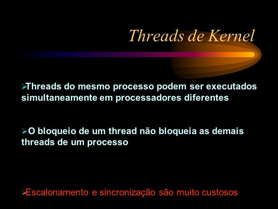 Threads de Kernel Threads do mesmo processo podem ser executados simultaneamente em processadores diferentes.