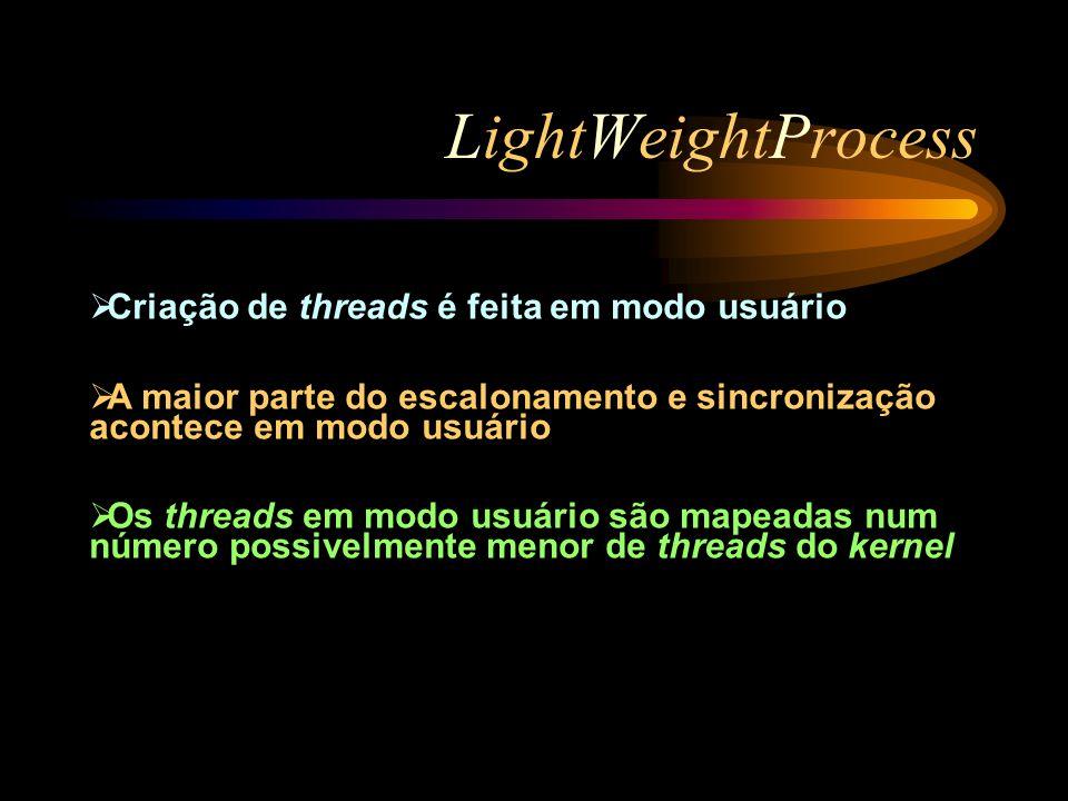 LightWeightProcess Criação de threads é feita em modo usuário