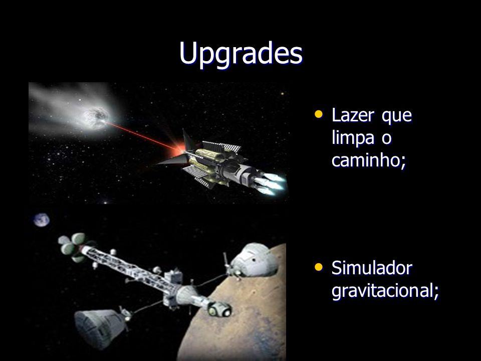 Upgrades Lazer que limpa o caminho; Simulador gravitacional;