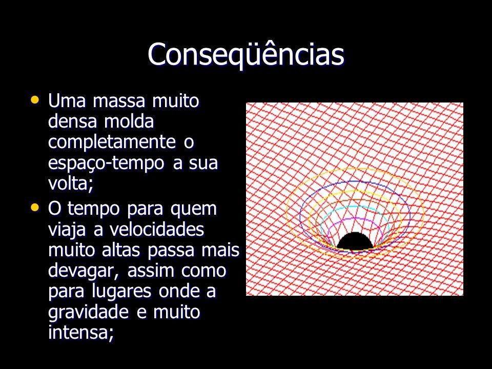 Conseqüências Uma massa muito densa molda completamente o espaço-tempo a sua volta;