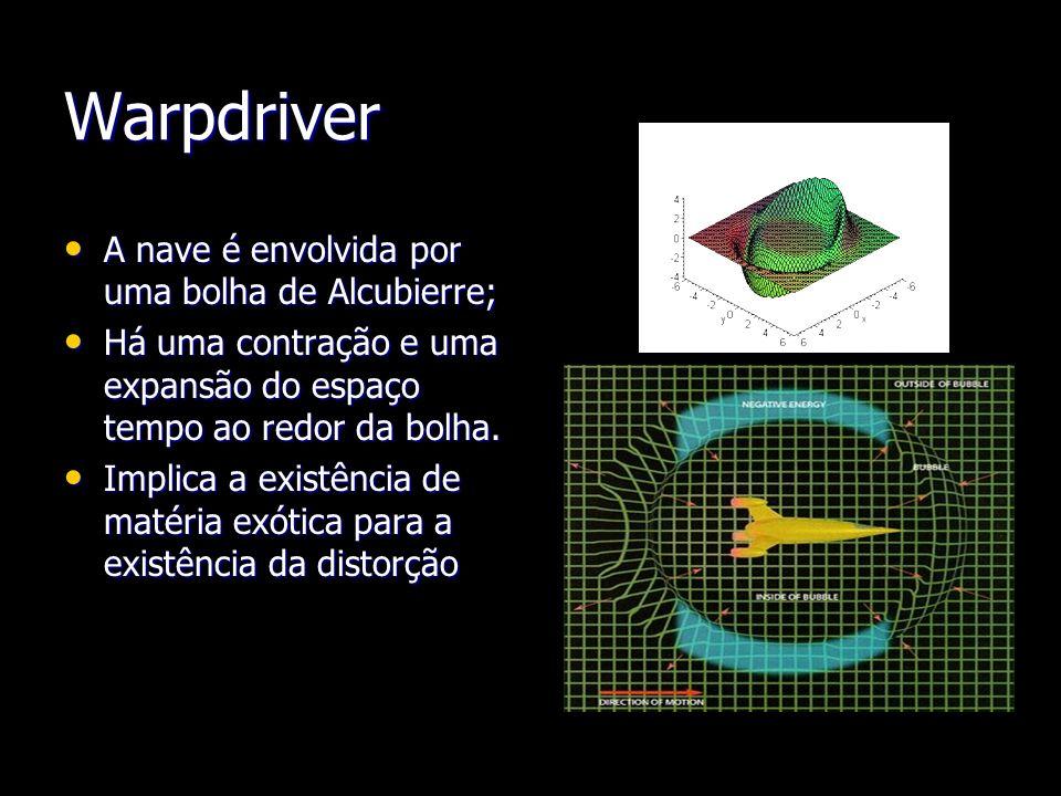 Warpdriver A nave é envolvida por uma bolha de Alcubierre;
