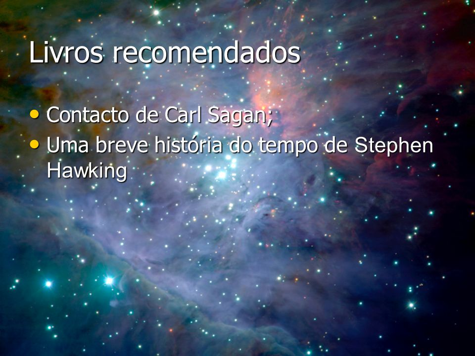 Livros recomendados Contacto de Carl Sagan;