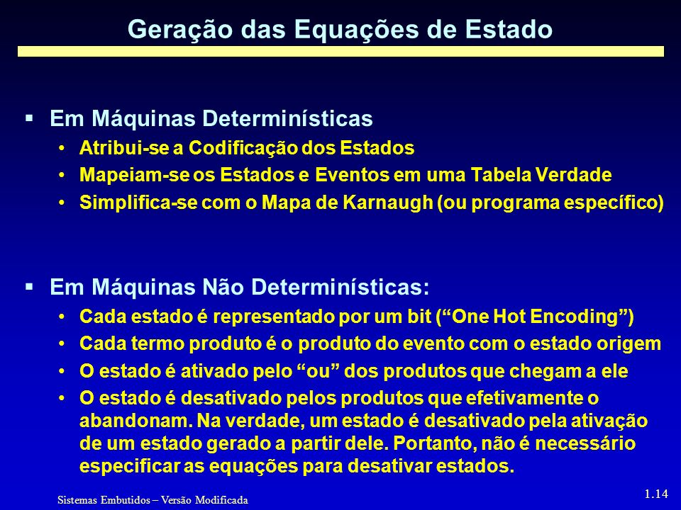 Geração das Equações de Estado