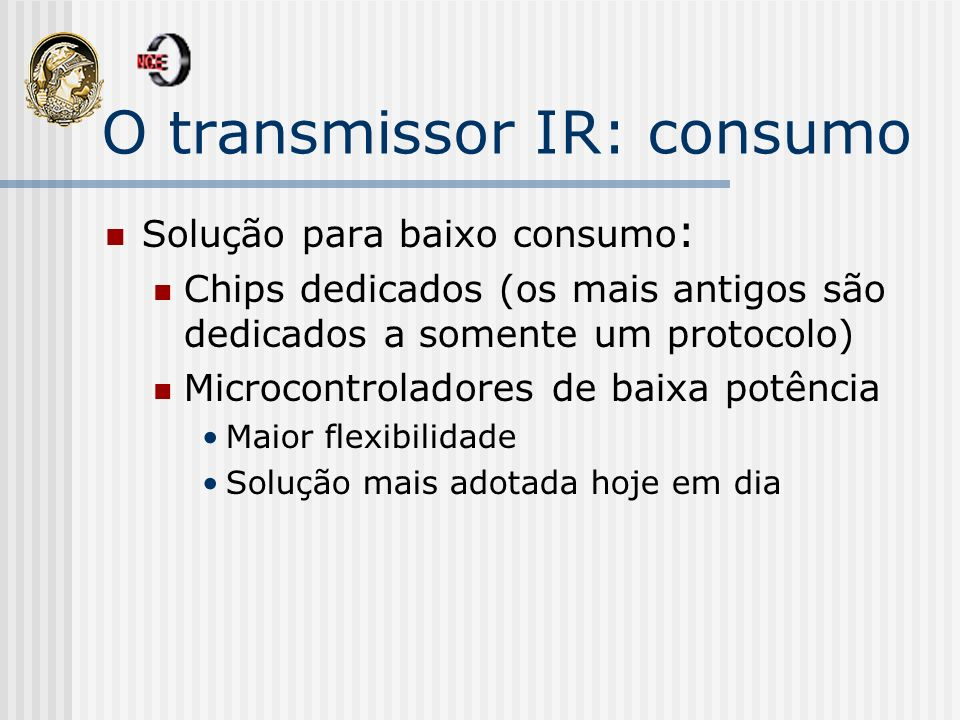 O transmissor IR: consumo
