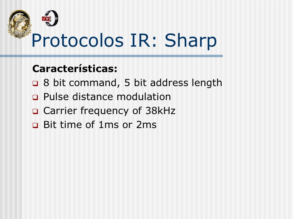 Protocolos IR: Sharp Características: