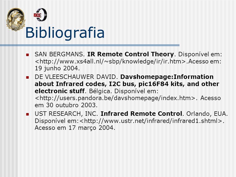 Bibliografia SAN BERGMANS. IR Remote Control Theory. Disponível em: <http://www.xs4all.nl/~sbp/knowledge/ir/ir.htm>.Acesso em: 19 junho 2004.