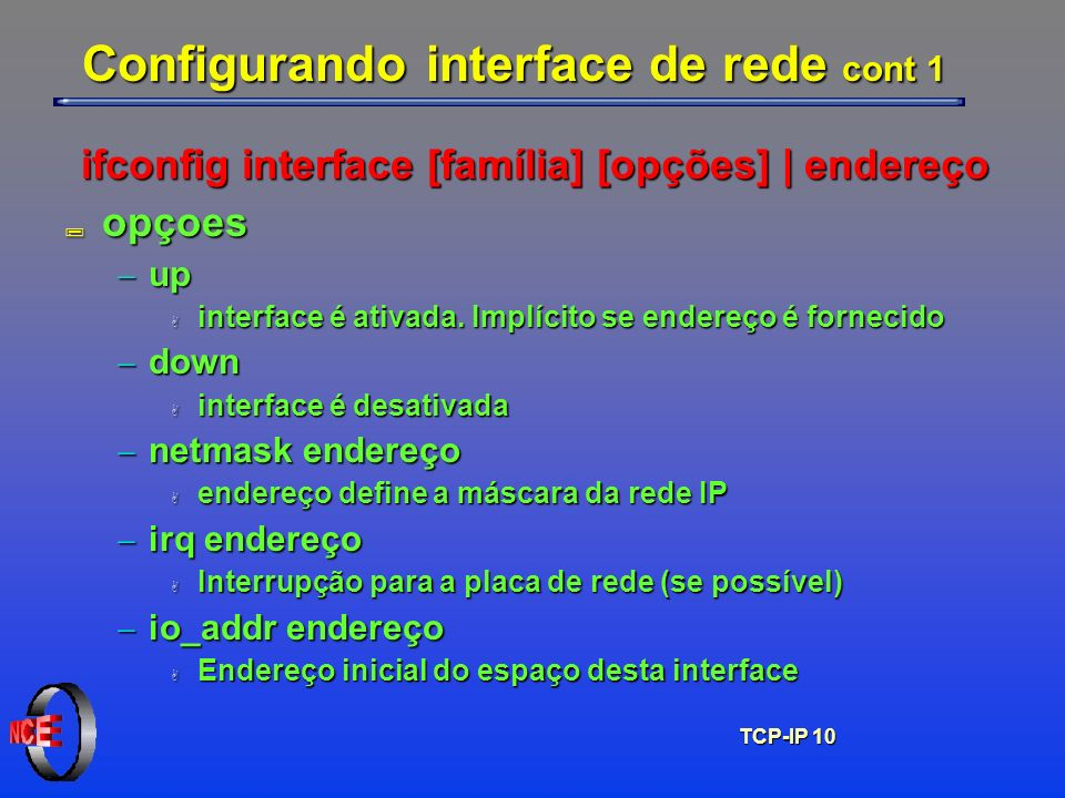 Configurando interface de rede cont 1
